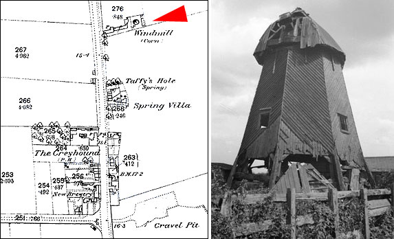 Eye Green Smock Mill. 1887 map and photo taken on 19th August 1934 while derelict.