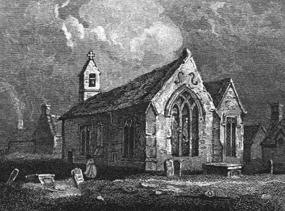 Engraving taken from a painting of the original church