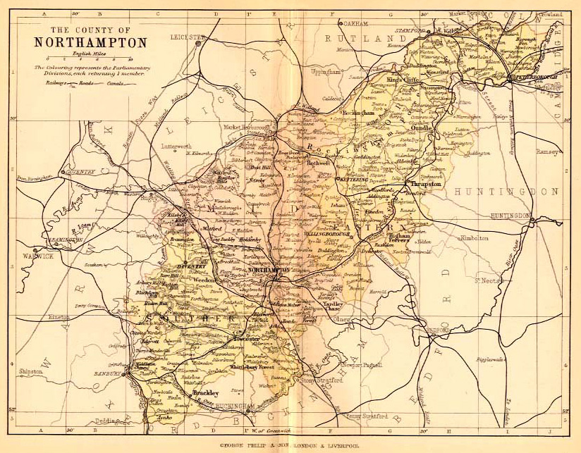A map from 1892 - Eye is right up on the furthest north easterly boundary of Northamptonshire
