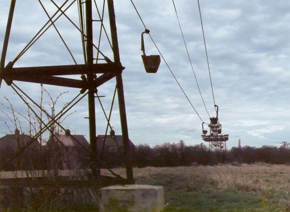 1970's photo of the aerial ropeway looking east towards Eye brickyards