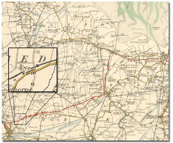 The red line on this map from 1903 shows the M&GN line from Peterborough to Sutton Bridge and onward to Lynn
