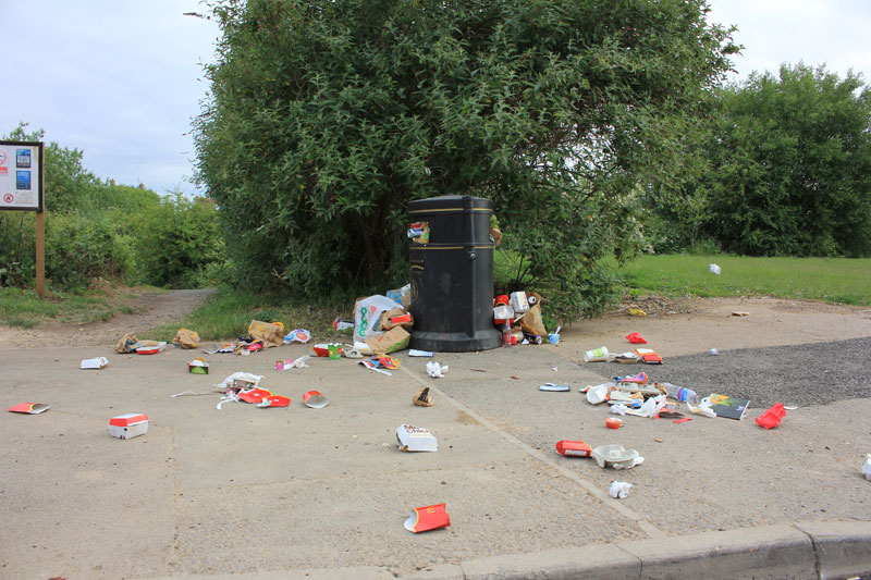Litter around the entrance to Eye Nature Reserve